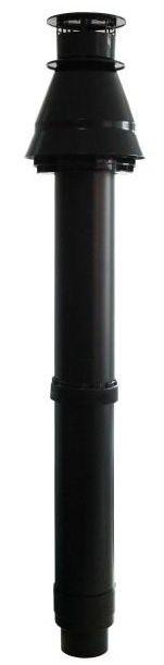 Regulus Komínek 60/100 PP černý průchod otvorem průměr 125 mm  11253