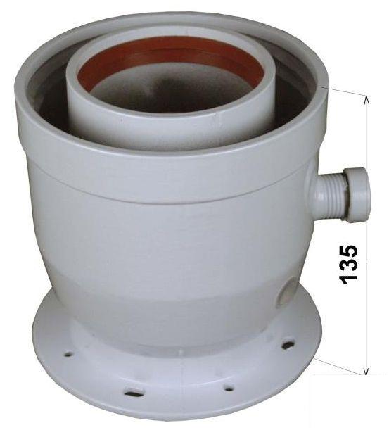 Regulus Příruba průměr 60/100 na 80/125, s odvodem kondenzátu a odběry  6006