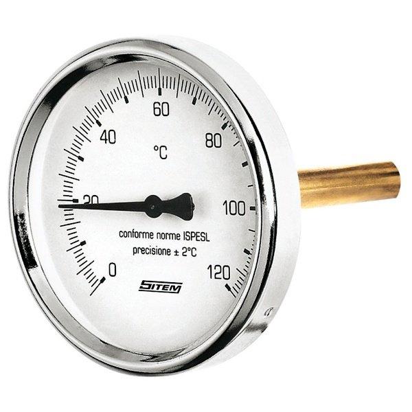 """Regulus Teploměr 0-120°C s jímkou (l= 45, 1/2""""), zadní, d=63 mm  10473"""
